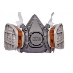 Les filtres anti gaz A2 placés sur un masque 3M.