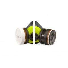 Masque peintre carrosserie. Exemple des cartouches anti-poussière et anti-gaz.