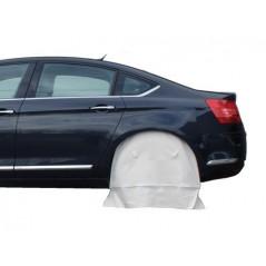 Housse de masquage pour passage de roue grand format et pour roue entière contre brouillard de peinture.
