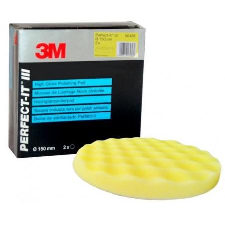 2 mousses de lustrage 150 mm d'agressivité moyenne à forte 3M-50488. À utiliser avec le liquide de polissage jaune.