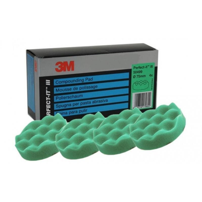 4 mousses de polissage 3M-Perfectit  Vert 75 mm. Utiliser avec le liquide de polissage vert.