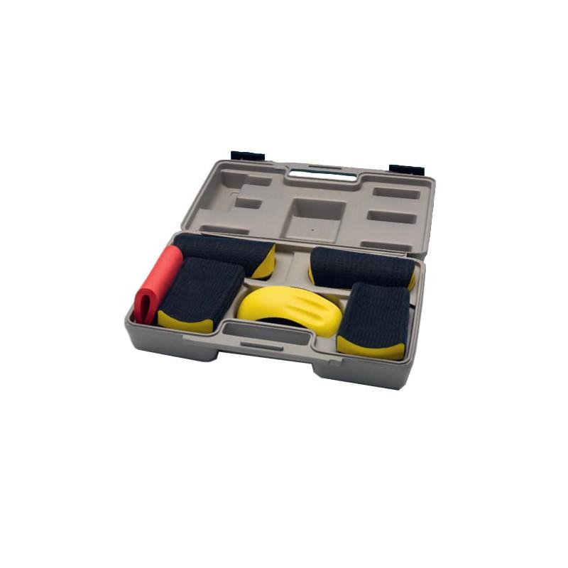 Coffret cales velcro à poncer - 6 cales pour disque de diamètre de 150 mm et feuille abrasive de 70 x 400 mm