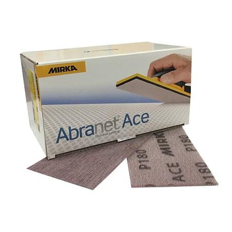 Papier abrasif 70 x 125 mm velcro P80 - MIRKA ABRANET ACE. Ponçage automobile sans poussière et sans nettoyage.