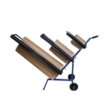 Support bleu pour accueillir 3 rouleaux de papier kraft de marouflage