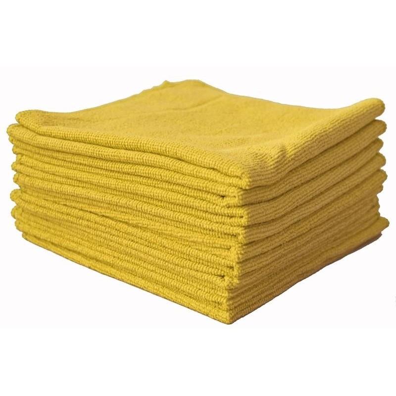 Chiffon microfibre jaune. Absorbe poussière à sec. Parfait pour les voiture en showroom.