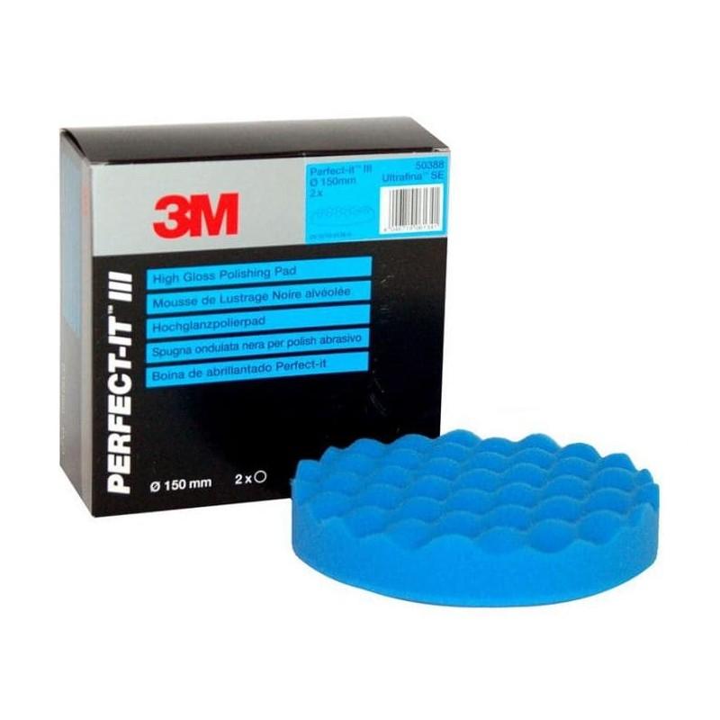 2 mousses de lustrage alvéolée  3M Ultrafina Bleu 150 mm. Utiliser avec le liquide de polissage bleu.